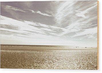 Sepia Beach Wood Print