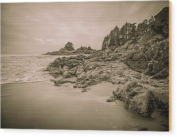 Cox Bay Sepia Wood Print