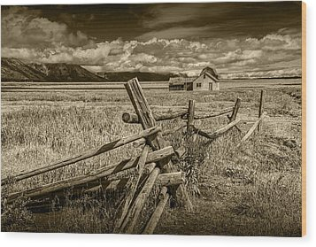 Sepia Colored Photo Of A Wood Fence By The John Moulton Farm Wood Print by Randall Nyhof