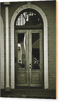Sepia Door Wood Print by Cherie Haines