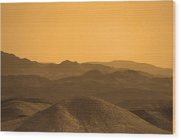 Sepia Mountains Wood Print