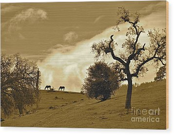 Sepia Of Two Horses Wood Print