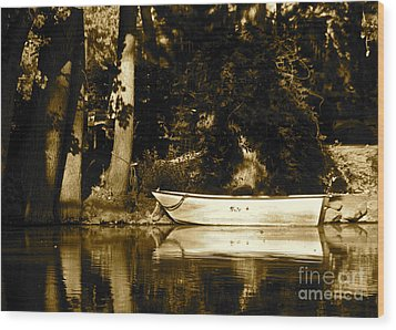 Sepia Rowboat Wood Print by Vinnie Oakes