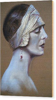 Sepia Siren Wood Print by Lynda Robinson
