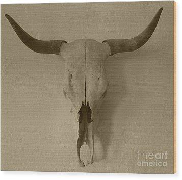 Sepia Skull Wood Print