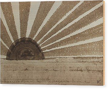 Sepia Sunset Original Painting Wood Print by Sol Luckman
