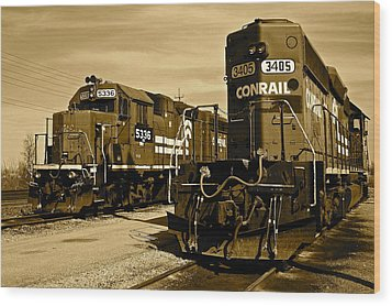 Sepia Trains Wood Print by Frozen in Time Fine Art Photography