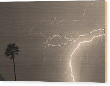 Sepia Tropical Thunderstorm Night  Wood Print by James BO  Insogna