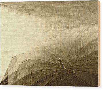 Sepia Umbrella Impressions In The Rain Wood Print by Suzanne Powers