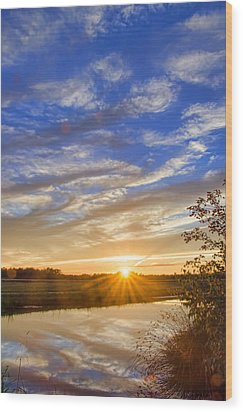 September Sky Reflection Wood Print