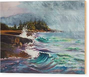 September Storm Lake Superior Wood Print
