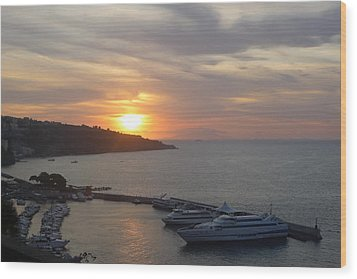 Wood Print featuring the photograph September Sunset In Sorrento by Nora Boghossian
