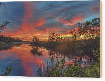September Sunset Reflection Wood Print