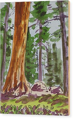 Sequoia Park - California Sketchbook Project  Wood Print by Irina Sztukowski