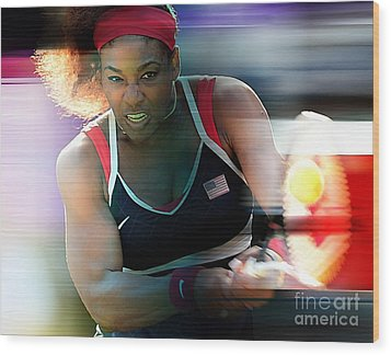 Serena Williams Wood Print by Marvin Blaine