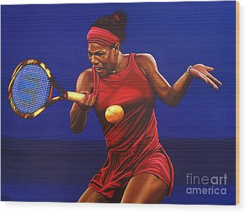 Serena Williams Painting Wood Print by Paul Meijering