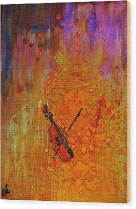 Wood Print featuring the painting Serenade For A Rainy Day... by Cristina Mihailescu