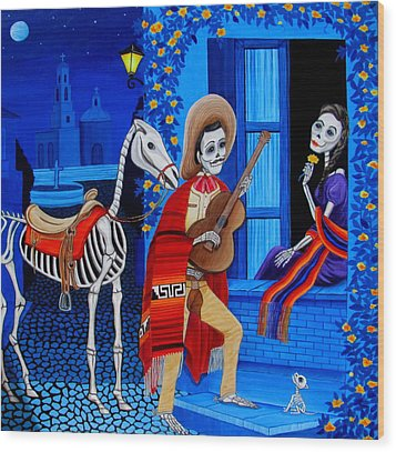 Wood Print featuring the painting Serenata by Evangelina Portillo