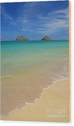 Serene Lanikai Beach Wood Print by Aloha Art