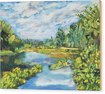 Wood Print featuring the painting Serene Pond by Michael Daniels