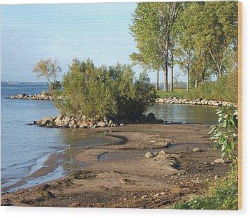 Serene Shores Of The St. Lawrence Wood Print by Margaret McDermott