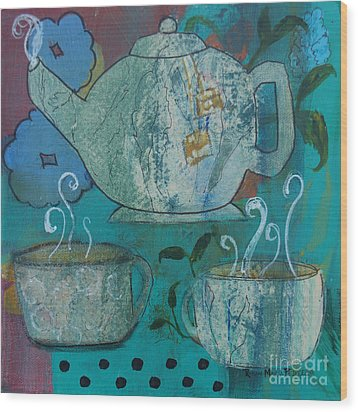 Serene Tea Wood Print by Robin Maria Pedrero