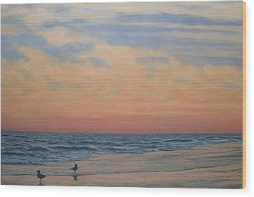 Serenity - Dusk At The Shore Wood Print by Kathleen McDermott