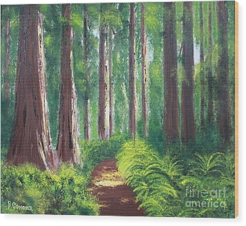 Serenity Forest Wood Print by Bev Conover