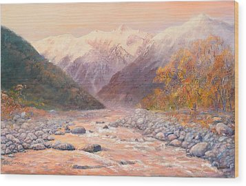 Serenity Mountains Wood Print by Peter Jean Caley