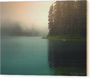 Serenity On Blue Lake Foggy Afternoon Wood Print by Joyce Dickens