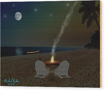 Serenity On The Beach Wood Print by Michael Rucker