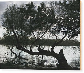 Wood Print featuring the photograph Serenity On The River by Digital Art Cafe