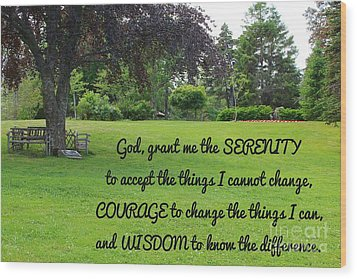 Serenity Prayer And Park Bench Wood Print