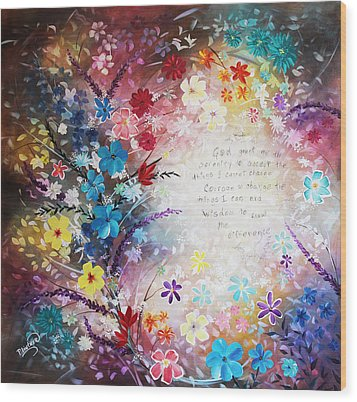 Wood Print featuring the painting Serenity Prayer by Patricia Lintner