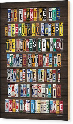 Serenity Prayer Reinhold Niebuhr Recycled Vintage American License Plate Letter Art Wood Print by Design Turnpike