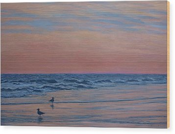 Wood Print featuring the painting Serenity - Study For Dusk At The Shore by Kathleen McDermott