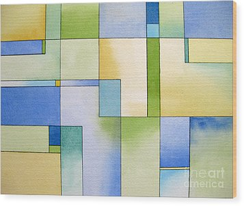 Serenity Watercolor Pen And Ink Geometric Abstract Painting Wood Print by Cherilynn Wood