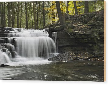 Serenity Waterfalls Landscape Wood Print by Christina Rollo