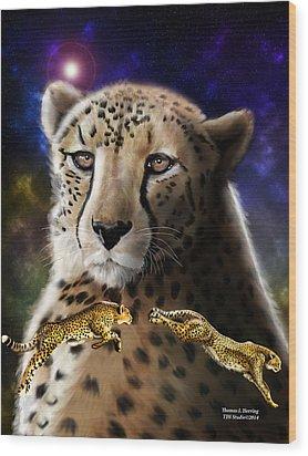 First In The Big Cat Series - Cheetah Wood Print by Thomas J Herring