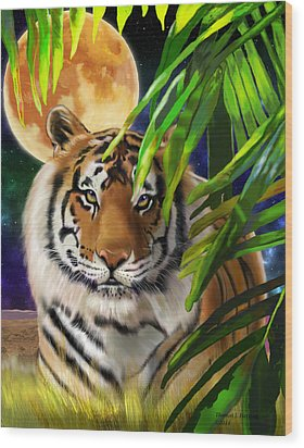 Second In The Big Cat Series - Tiger Wood Print by Thomas J Herring