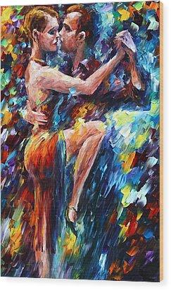 Serious Tango Wood Print by Leonid Afremov