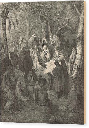 Sermon On The Mount Wood Print by Antique Engravings
