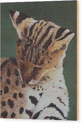 Wood Print featuring the painting Serval Nap by Margaret Saheed