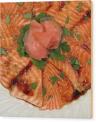 Sesame Salmon Sashimi Wood Print by James Temple