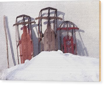 Wood Print featuring the photograph Set Aside Sleds by Susan Crossman Buscho