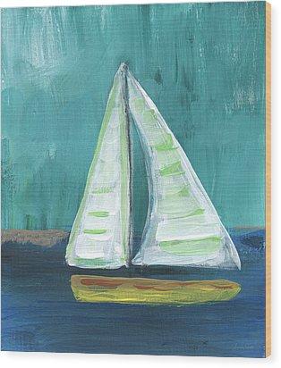 Set Free- Sailboat Painting Wood Print