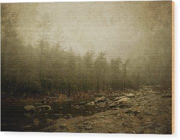 Set In Fog Wood Print by Kathy Jennings
