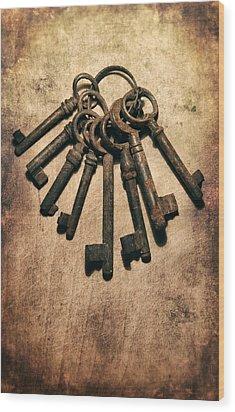 Set Of Old Rusty Keys On The Metal Surface Wood Print by Jaroslaw Blaminsky
