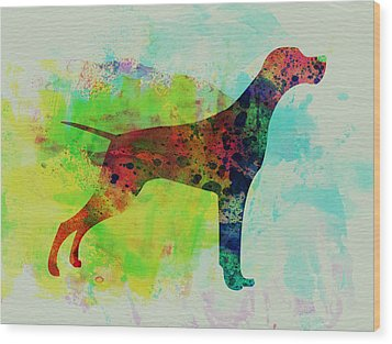 Setter Pointer Watercolor Wood Print by Naxart Studio