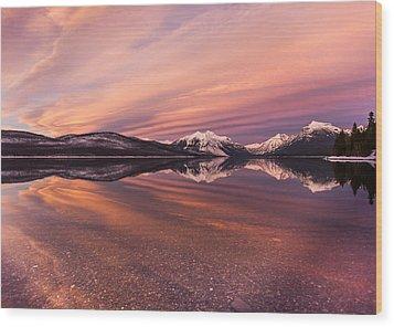 Setting On Glacier Wood Print by Aaron Aldrich